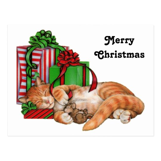 Cute Cat, Mouse and Christmas Presents Postcard