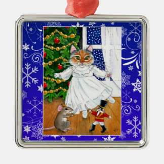 Cute cat mouse nutcracker ballet snow ornament