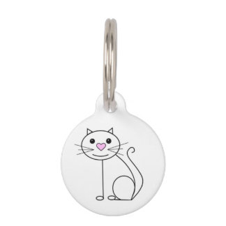 Cute cat name tag with contact details pet tag