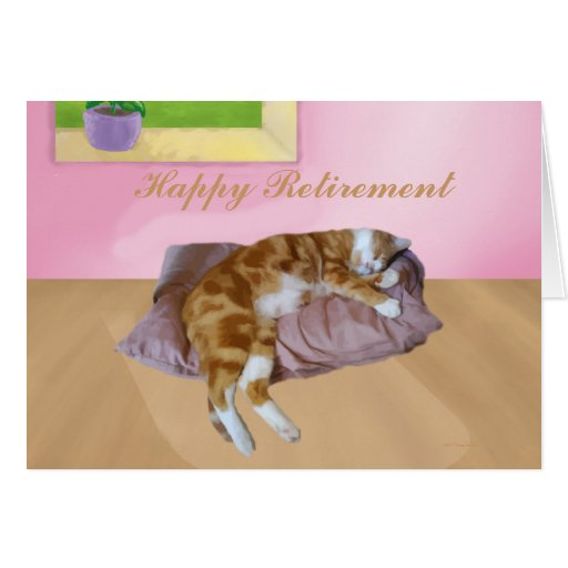 Cute Cat Napping Happy Retirement cards
