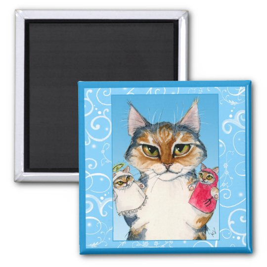 Cute cat naughty or nice magnet