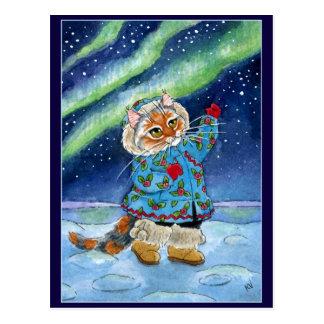 Cute cat, northern lights postcard