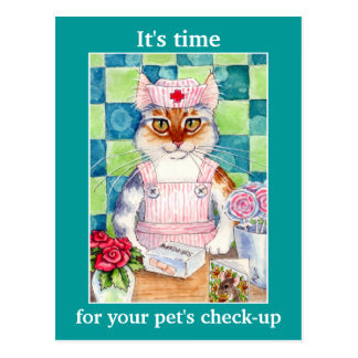 Cute cat nurse Veterinarian appointment reminder Postcard