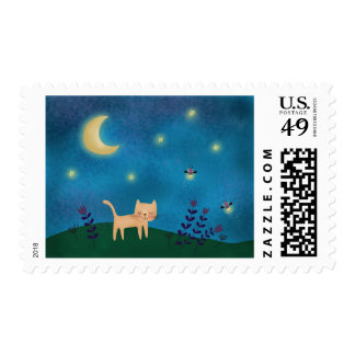 Cute cat on a summer night postage stamp