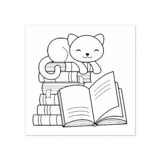 Cute Cat on top of Stack of Books - Bookplate Rubber Stamp