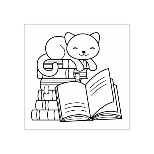 Cute Cat on top of Stack of Books