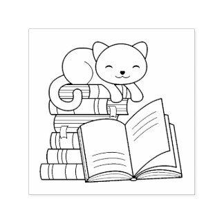 Cute Cat on top of Stack of Books Self-inking Stamp