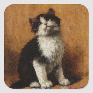 Cute Cat Painting Square Stickers