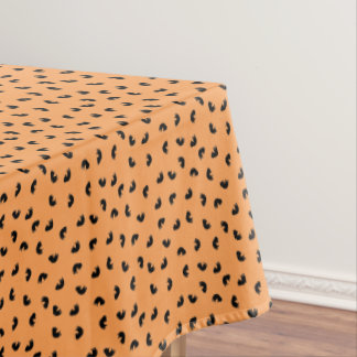 CUTE Cat Pattern Black and Orange Tablecloth