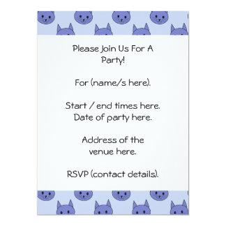 Cute cat pattern. Blue. 17 Cm X 22 Cm Invitation Card