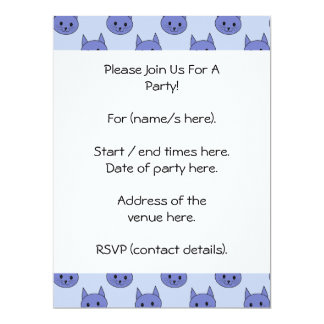 Cute cat pattern. Blue. 17 Cm X 22 Cm Invitation Card