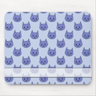 Cute cat pattern Blue Mouse Pad