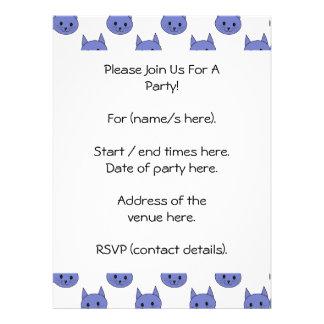 Cute cat pattern Dark Blue Personalized Announcement
