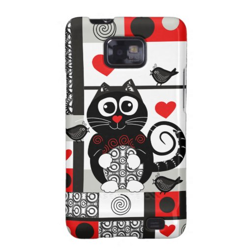 cute Cat, Patterns & hearts Samsung Galaxy SII Covers