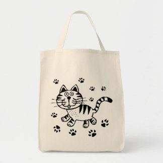 CUTE CAT PAWS GROCERY TOTE GROCERY TOTE BAG