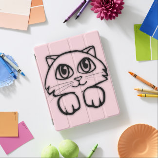 Cute Cat Peeking Pink iPad Cover