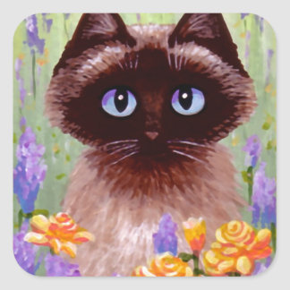 Cute Cat Ragdoll Siamese Burmese Rose Creationarts Square Sticker