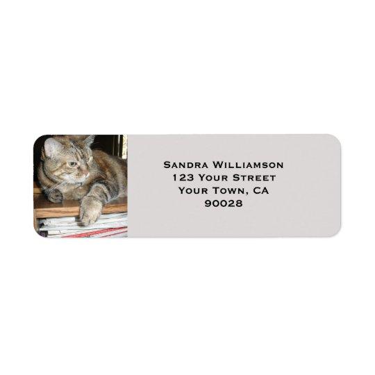 Cute cat return address label