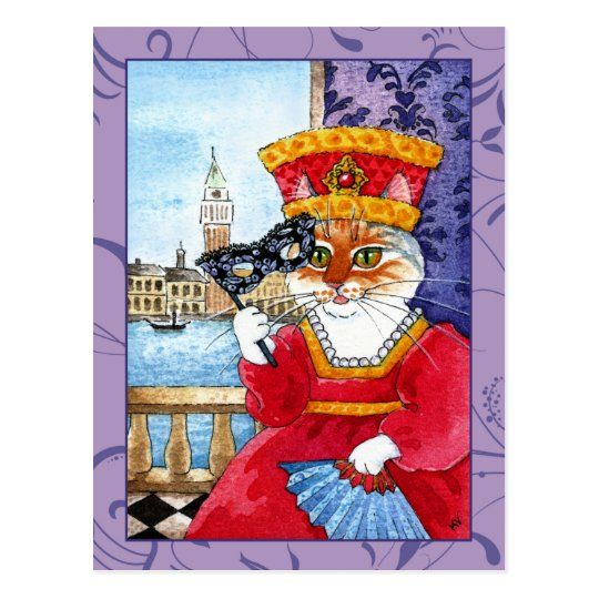 Cute cat Venice Carnival or Valentines postcard
