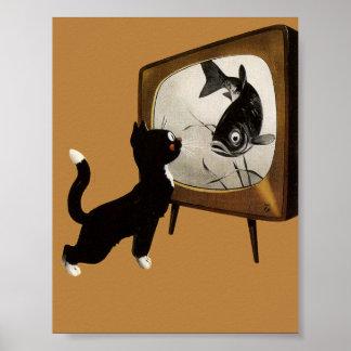 Cute cat watching TV vintage poster