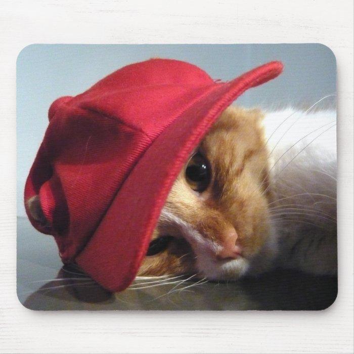 Cute Cat Wearing Red Cap Mousepad