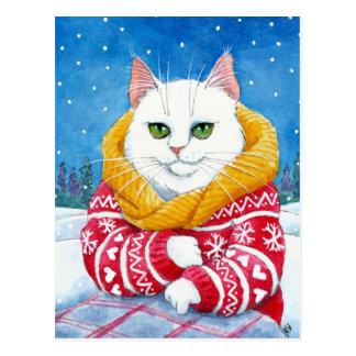 Cute cat white Christmas Maine Coon postcard