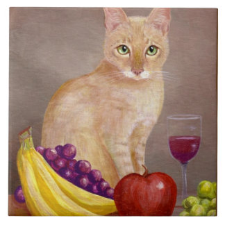 Cute Cat Wine Grapes Apple Bananas Creationarts Large Square Tile