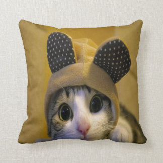 Cute Cat with Big Eyes in a Dressed of Animal Ears Cushion