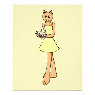 Cute Cat with Birthday Cake. 11.5 Cm X 14 Cm Flyer