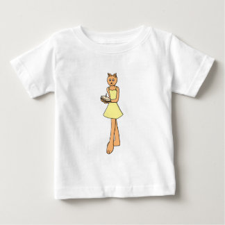 Cute Cat with Birthday Cake. Baby T-Shirt