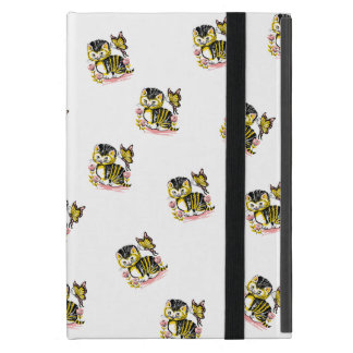 Cute cat with butterfly on flower illustration case for iPad mini