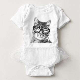 Cute cat with glasses baby tutu bodysuit creeper