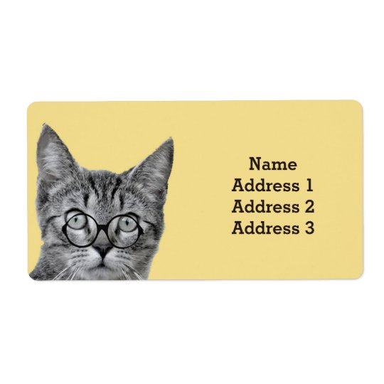 Cute Cat with Glasses on Yellow Address Label