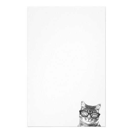 Cute cat with glasses stationery paper for writing