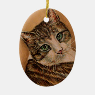 Cute Cat with Green Eyes and Tilted Head Christmas Ornament