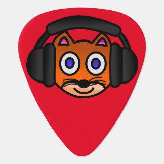 Cute Cat with Headphones Digital Art Graphics Guitar Pick