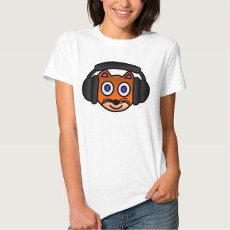 Cute Cat with Headphones Digital Art Graphics Tee Shirts