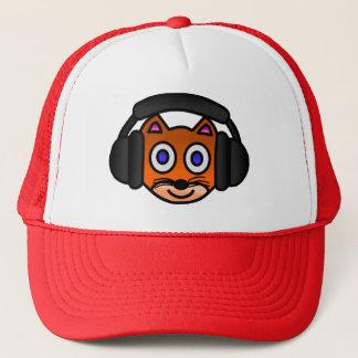 Cute Cat with Headphones Digital Art Graphics Trucker Hat