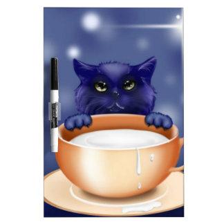 Cute Cat With Milk Dry Erase Board