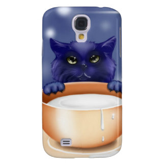 Cute Cat With Milk Galaxy S4 Case