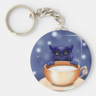 Cute Cat With Milk Keychain