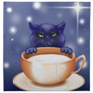 Cute Cat With Milk Napkin