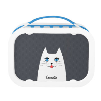 Cute cat with tongue sticking out lunch box