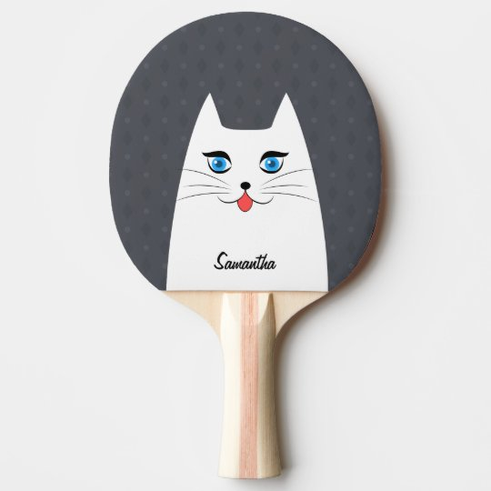 Cute cat with tongue sticking out ping pong