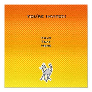 Cute Cat; Yellow Orange 13 Cm X 13 Cm Square Invitation Card