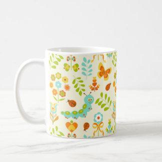 Cute caterpillar and flowers basic white mug