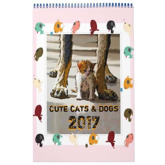 Cute cats and dogs calendar