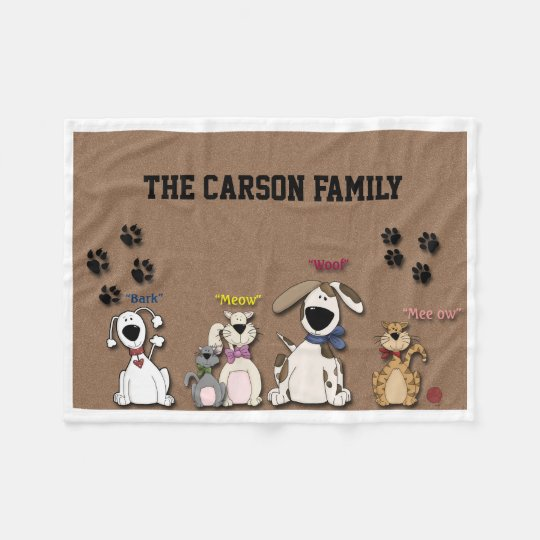 Cute Cats and Dogs Custom Family Fleece Blanket