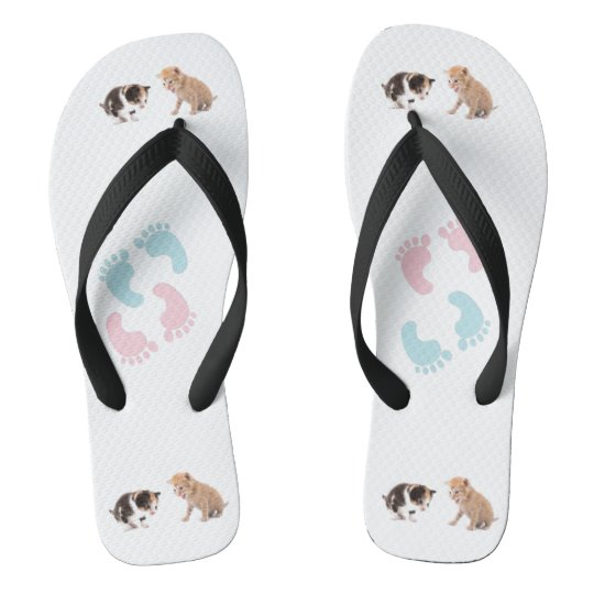 cute cats and fingers prints flip flops