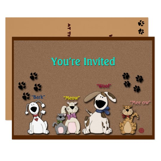 Cute Cats & Dogs, Birthday Party Invitation